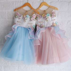 Christmas Unicorn Dress Flower Embroiderey Tulle Prom Gown Dresses For Easter Dress Up Costume Unicorn Birthday Dress Party Wedding Vestidos