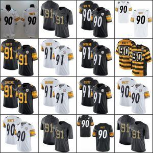 PittsburghladrõesVermelho 91 Stephon Tuitt 90 T. J. Watt Branco Branco Homens negros Mulheres YouthJersey