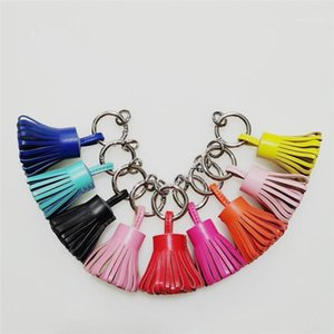 Luxury Keychain 2020 Real Leather Tassel Hula Skirt Keyrings For Women Charm Bag Holder Ornament Fashion Gift Accessory Chain1