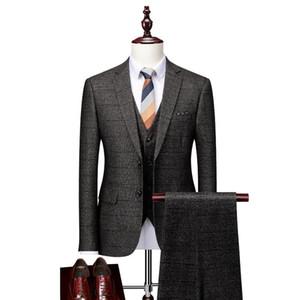 Gris Plaid Men Trajes de boda 2020 Slim Fit Disfraz Homme Mariage Tres piezas Negocio Vestido formal Traje Hombres 4XL-S