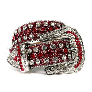 Rhinestones de gran tamaño Cinturón Vaquera occidental Cowboy Bling Bling Crystal Tachuelas Cinturón de cuero con hebilla extraíble para hombres mujeres