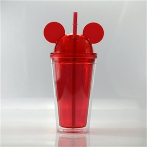Free ship! 15 oz Acrylic Tumblers Mouse Acrylic Travel Cup with straws Juice Wine Glass Kids Baby Cartoon Cute Plastic Tumbler