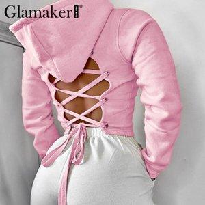 Glamaker Backless pink hoodie sweatshirt women long sleeve bandage streetwear sweatshirt female casual autumn thin Sweatshirts Y1116