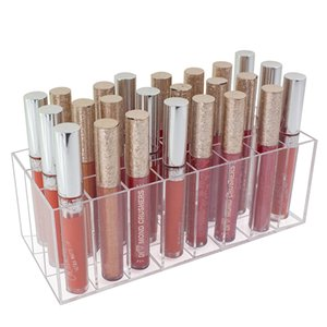 Handmade Acrylic 24 Slots Lipstick Organizer Makeup Storage Box Lip Gross Organizer Case Lipstick Holder Transparent escritori Z1123