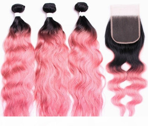 Fashion natural wave brazilian hair 1b pink ombre bundles with 4*4 closure human hair extension curly