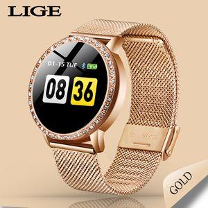 LIGE Damen Smart Watch Frauen Blutdruck Herzfrequenzmesser Fitness Tracker Sport Smart-Band Erinnerung Wecker Smartwatch 201118