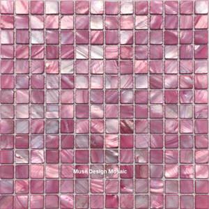 Tile Princess Pink Natural Shell Mosaic romântico para cozinha Backsplash Banho Salon composição da parede da sala etiqueta