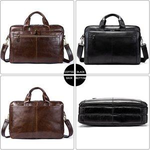 HBP WESTAL Men's Briefcase Men's Leather Bag Men Genuine Leather Zip Messenger Bag Man Leather Laptop Bag for Men