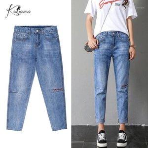 Jeans para mujer 2021 Verano novio para mujeres Lavado Sólido Cintura Alta Cintura Femenino Estirar Flaca Mujer Lápiz PLUS TAMAÑO MOM1