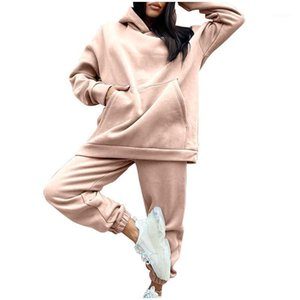 Ladies Fleece Fashion Casual Sports Suit Hoodieswater Ladies Sports Traje con capucha Pullover Color Sólido Cablewater Women1