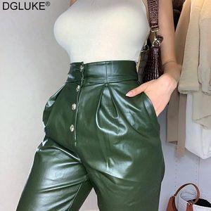 Dgluke Faux Cuir High Taille Pantalons Femmes Mode Vintage Vert PU cuir automne Hiver Long Pantalon Direct High Street High Street