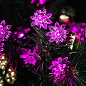 Güneş Enerjili Işıklar Açık 7M 50 LED Lotus Flower Festoon Peri Işık Dekoratif Aydınlatma Bahçe Çit süslemeler