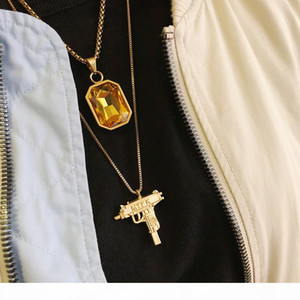 Gemstone Necklace Hip Hop Trendy Wild Street Gold Plated Red Sapphire Pendant Men and Women Necklace HFSSXL009