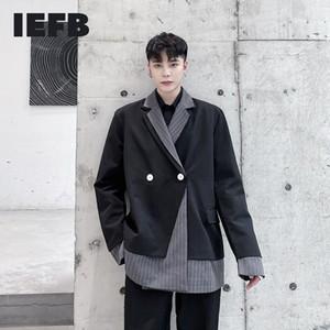 IEFB 2020 الخريف الرجال كتلة اللون خليط السببية دعوى معطف أسود رمادي مخطط ستر تصميم وطباعة ل9Y4738 حقق الذكور