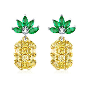 Korean Sweet Cute Fashion Jewelry 925 Sterling Silver Full Princess Cut YelloW 5A Cubic Zircon Fruit Pineapple Women Dangle Earring Gift