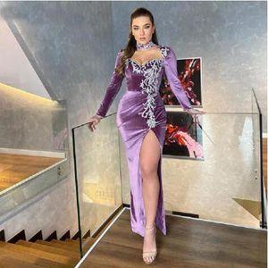 Long Sleeves Velvet Mermaid Evening Dress High Neck Lace Appliques Slit Side Formal Prom Gowns Vestidos De Gala