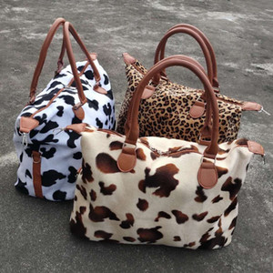 Leopard Cow Print Handbag Large Capacity Weekend Travel Bags Women Sports Yoga Totes Storage Maternity Bag DDA827