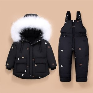 Children's Down Jacket for boys Winter baby girl Clothes with Big Fur Down snow Sets 2pcs Baby girls Overalls kids Infant Coat Y1113