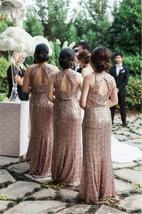 Sparkle Sequins Bridesmaid Gown Fashion V-neck Long Maid Of Honor Dresses for Wedding Party Custom Made