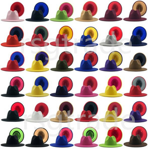 40 Colores Hombres Mujeres Panamá Cap Jazz Formal Hat Lady Field Fedora Patchwork Ancho Brim Caps Trilby Chapeau Otoño Invierno Diseñador Sombreros