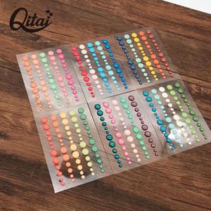Pegatina de puntos de Qitai 6 Shoets / Lot Scrapbooking Scrapbooking Sparkle Glitter Pegatinas de azúcar Aspersión Agotesiva Etiqueta de resina Esmalte ES031