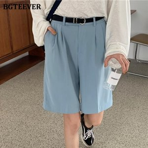 BGTEEVER Summer Autumn Brief High Waist Pockets Women Solid Suits Shorts Casual Loose Female Wide Leg Shorts 2020
