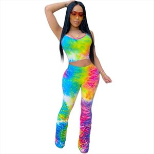 Tie Dye Sexy Two Piece Set Women Summer Festival Clothing 2020 2 Piece Set Crop Top and Stacked Pants Matching Sets Club