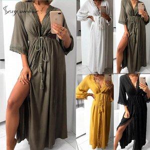 Sexy Mousse Robe Pyjamas Bademantel Damen Langes Kleid Weiche Aushöhlen Spitze Krawatte Taille Slim Fit Casual V-Ausschnitt Kleid Nachtwäsche Slust1