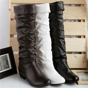 Plus Size New Arrive Knee High Women Black White Brown Flat Heels Half Boots Autumn Winter Shoes WomanZ1126