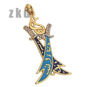 ZKD Two Islamic Imam Ali Sword Zulfiqar Pendant Necklace Shia Muslim1