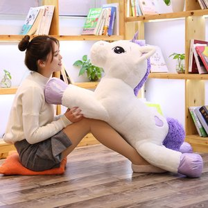 Lovely Hot New Giant Size Unicorn Plush Toys Pink& White Unicorn Stuffed Animal Horse Toy Soft Doll Surprise Gift for Children Z1127
