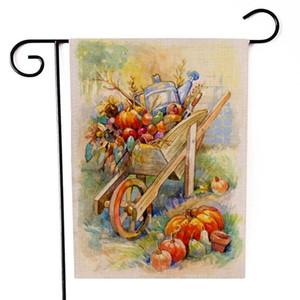 Şükran günü süslemeleri bahçe bayrak ayçiçeği kabaklar meyve kedi desen iki taraflı baskı afiş Cadılar Bayramı bayrakları sıcak satış 6 8sx F2