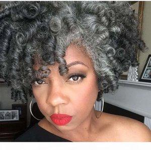 SALT PEPPER GREY VRAIRE VERTATION DE CHEVEUX DE CHEVEUX VÉRENTS Coiffures Real Shake and Go Kinky Curly Bun Bun Updo Cheveux Human Hair Ponytail 120g 140g 100g DHL