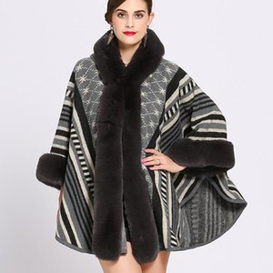 Oversize Knitted Sweater Cardigan With Hat 2020 Winter Faux Fur Poncho Women Printed Designer Female Long Sleeves Shawl