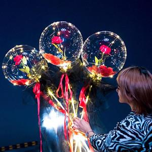 Balão Luminoso Artificial Rosa Buquê Bouquet Transparente Flores Secas Flores Dia Dos Valentim Decoração Decoração Balões Flor
