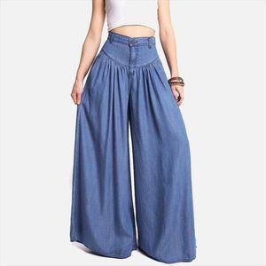 High Waist Zipper Wide Leg Denim Women Pants Jeans Casual Floor Length Loose Ladies Elegant Spring Longs Feminine Skirt Trousers