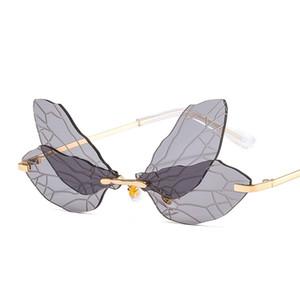 Новые крылья бабочки прозрачные солнцезащитные очки RIMLENT модная уникальная вечеринка красочные солнцезащитные очки 8049