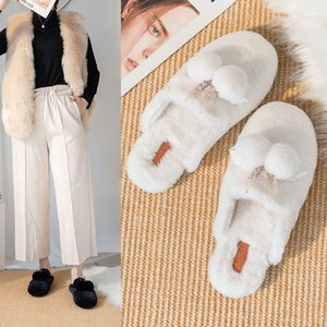 New Korean style Baotou flat bottom for home and outdoor wear fashionable casual fur indoor house slippers in autumn and winter 2020