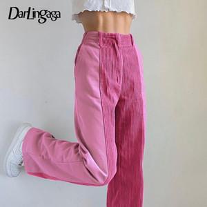 Darlingaga Casual Y2K Patchwork Vintage Vintage Pantalon Côtelé Droit Esthétique Rose Baggy Pantalons Harajuku Pantalon Haute Taille Pantalon