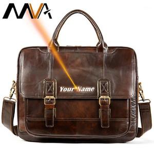 """MVA Herren Echtes Ledertasche Office Herren Briefkasten Vintage Herren Ledertasche Gravierte Messenger Männer Handtasche für 14 """"Laptop 74061"""