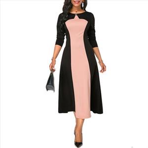 Summer Autumn Dress Women 2020 Vintage Elegant Sexy Patchwork Ball Gown Maxi Dresses Casual Plus Size Slim Long Party Dress 5XL