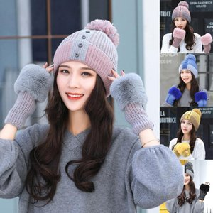 2020 Women's Winter hedging cap Clip-on Color Button Glove Cover Hat Warm Fashion Gloves Hat 2 Piece Set