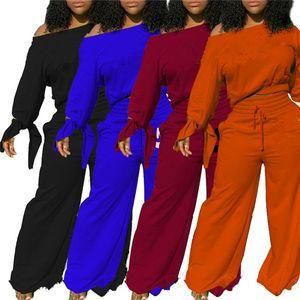 Frauen Jogginganzug Langarm Sweatsuits Hoodies + Wide-Beinhose 2 Stück Sets Outfits Pullover Trainingsanzug S-2XL Herbst Winterkleidung 3849