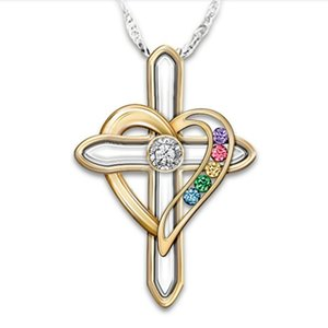 Cross Heart Shaped Pendants Necklace Jewelry Colourful Imitation Gem Alloy Gold Plated Necklaces Chain Women Lady Fashion Accessorie 4hja M2