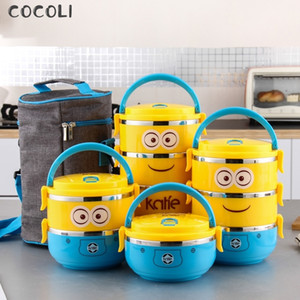 Cartoon Minion Stainless Steel Lunchbox for Kid Tiffin Boxes Thermal Bento for School Students Tableware 4D Lunch Box for Kids Y200429