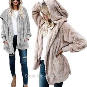 Women Fuzzy Fleece Oversized Open Front Cardigan Hooded Faux Fur Long Sleeve Warm Jacket Outerwear Coat