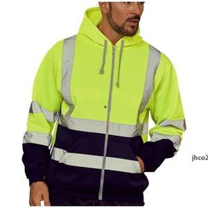 JH Mens Jackets Coats Work High Visibility Reflective Patchwork Long Sleeve Tops Blouse Clothes Male Fashion Sportswear