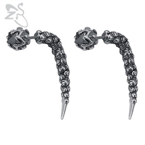 ZS Gothic Style Stud Earrings Fake Ear Tunnel Plugs Men's Stainless Steel Jewelry 1 Pair Punk Earring Rock Roll Ear Jewelry