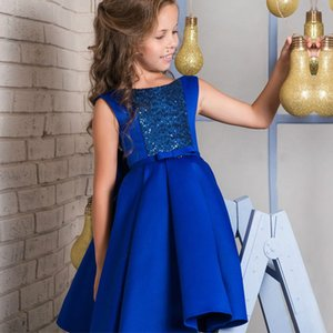 2018 Royal Blue Knee Length Short Flower Girl Dresses for Wedding Sequined with Bow Jewel A-Line Satin Cheap Baby Child Birthday Party Dress