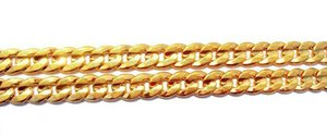 24k Solid Gold Two-sided Sequence Sand Cuban Link Chain Necklace 23.6inch 100% Real Gold, No wmtKXW dayupshop